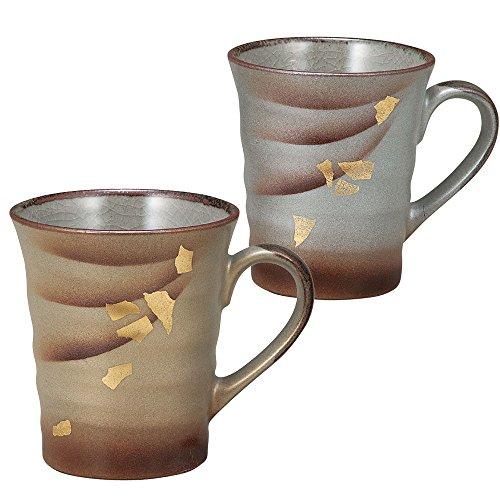 九谷焼 陶器 ペア マグカップ 金銀彩