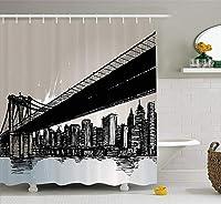 Yeussニューヨークシャワーカーテン、走り書きブルックリンブリッジ、グランジ効果と高層ビルの図、フック付き布製バスルーム装飾セット、多色
