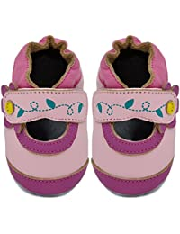 Kimi + Kai Kids Soft Sole Leather Crib Bootie Shoes - Contrast