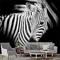 カスタム写真壁の壁画壁紙3Dシマウマ黒背景壁装物リビングルームの寝室の壁紙装飾,400cm×280cm