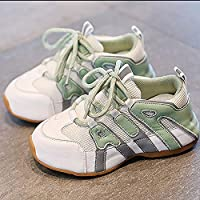 New Spring and Summer 2020 Children's Shoes, Breathable Mesh Sports Shoes for Boys and Girls, Comfortable and Non-Slip Convenient,Green,23