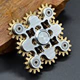 ハンドスピナー 指スピナー ストレス解消 齿轮 真鍮製 ギア 高速回転 Hand spinner Fidget Spinner Toy EDC 子供大人に適用 (白 9つのギア)