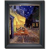 Cafe Terrace at Night by Van Goghプレミアムブラック&ゴールドフレームキャンバスすぐにハング)