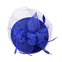 FLAMEER ベールハット 宫廷宴会 ウェディング ダービー 人工フェザー ヘアクリップ ファッション 多色 - 青
