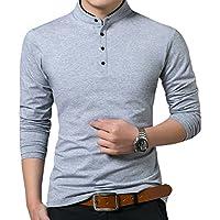KUYIGO Men's Casual Slim Fit Pure Color Long Sleeve Polo Fashion T-Shirts