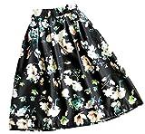 (アリルチョウ) スカート ひざ丈 フレア プリーツ 花柄 きれいめ ハイウエスト レディース 黒 色 ブラック