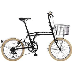 DOPPELGANGER(ドッペルギャンガー) 折りたたみ自転車 m6シリーズ m6-BLACK 20インチ パラレルツインチューブフレーム採用モデル かご・泥除け付き