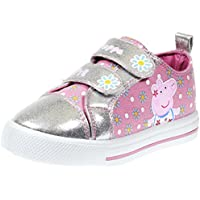 Peppa Pig Kids Toddler Girls Silver and Pink Floral Canvas Sneaker Hook and Loop Straps (See More Sizes)