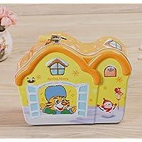 HuaQingPiJu-JP ティンプレートピギーバンク創造的な子供の家の装飾のスナック収納ボックス(オレンジ)