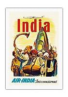 インド - エアインディアインターナショナル - インドの寺院の行列 - ビンテージな航空会社のポスター c.1960 - 美しいポスターアート