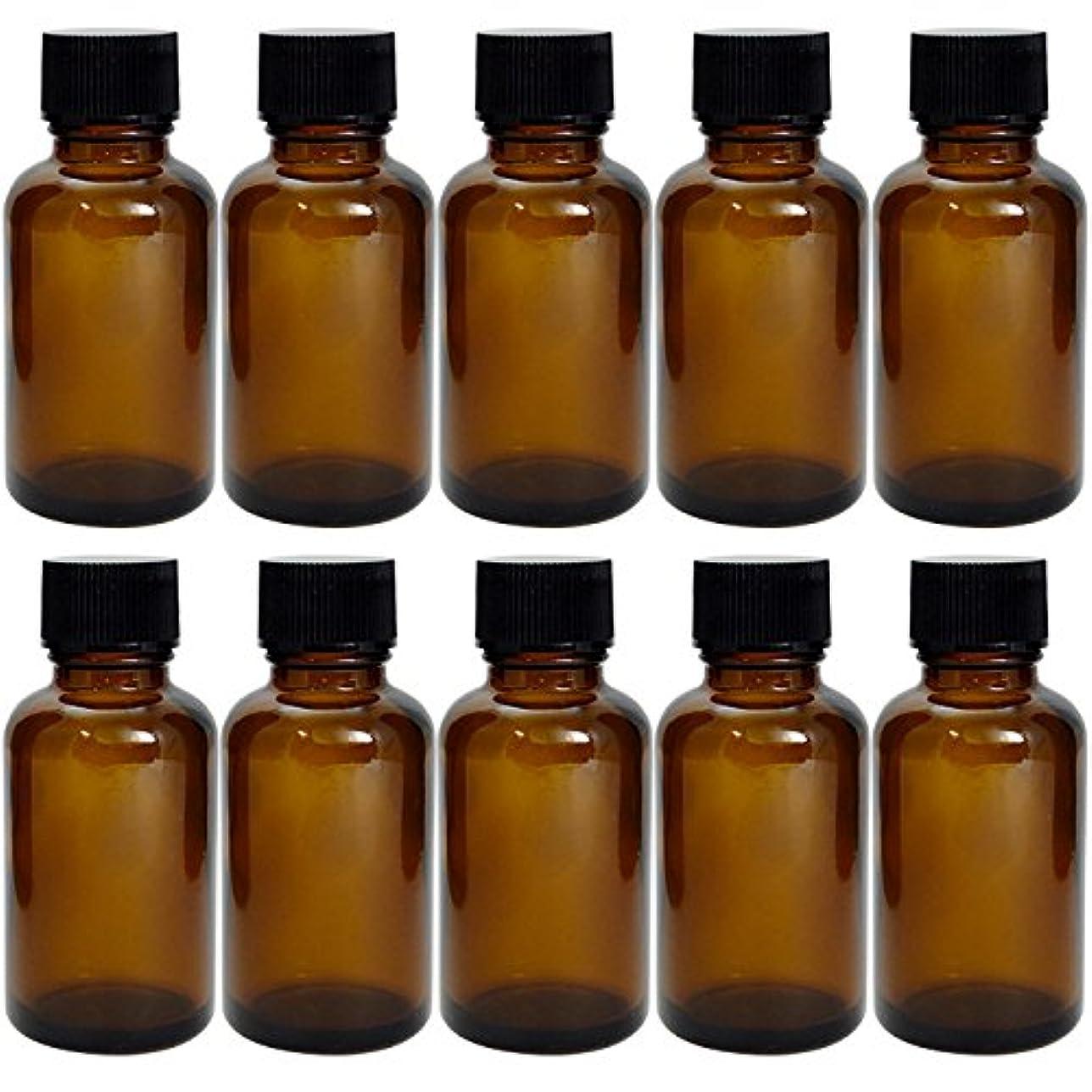 広範囲に流用する悔い改める遮光瓶 茶 30cc SYA-T30cc -10本セット- (黒CAPのみ)