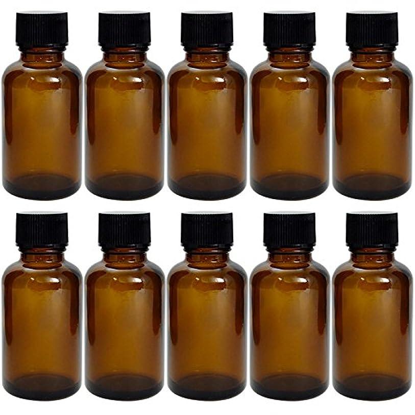 タンパク質良心仕様遮光瓶 茶 30cc SYA-T30cc -10本セット- (黒CAP ドロップ栓付)