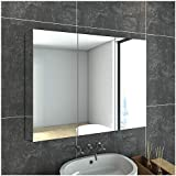 900x720MM Bathroom Vanity Mirror Medicine Cabinet Storage Polished Stainless Steel Wall Hung