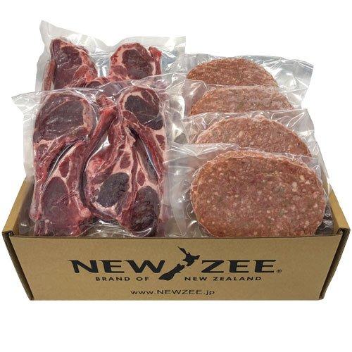 NEWZEE ギフトセット ハンバーグパティ&ラムチョップセット【100%ニュージーランド産】ラムチョップ50g x 10本+ハンバーグ 150g × 4枚 (合計1.1kg) 【冷凍】- NEWZEE Beef & Lamb Pack [100% NEW ZEALAND] Lamb Chops (10 x 50g) + Hamburger Patties (4 x 150g) [1.1kg] [FROZEN]