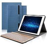 DINGRICH iPad Air2 キーボード ケース ワイヤレス Bluetooth キーボード 手帳型 PUレザー ケース スタンド機能付き 分離式 三つ折り バックライト iPad Air2(2014)専用 キーボード カバー(ダークブルー)