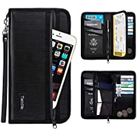 Family Passport Holder RFID Travel Wallet Waterproof & Fireproof Tickets Itinerary Document Organizer with Zipper/Strap for Woman & Man Fit 5 Passports