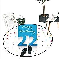 21歳の誕生日 室内装飾 円形 エリアラグ 誕生日パーティー フライングバルーン 曲線の端 アートワークプリント ドアマット 屋内 バスルームマット スモール ラウンド カーペット ブルー グリーン レッド D4'/1.2m