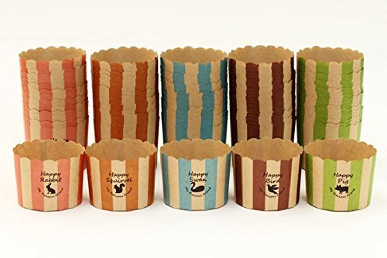 FBAT164-168 マフィンカップM アニマル アソート100枚 5色×20枚
