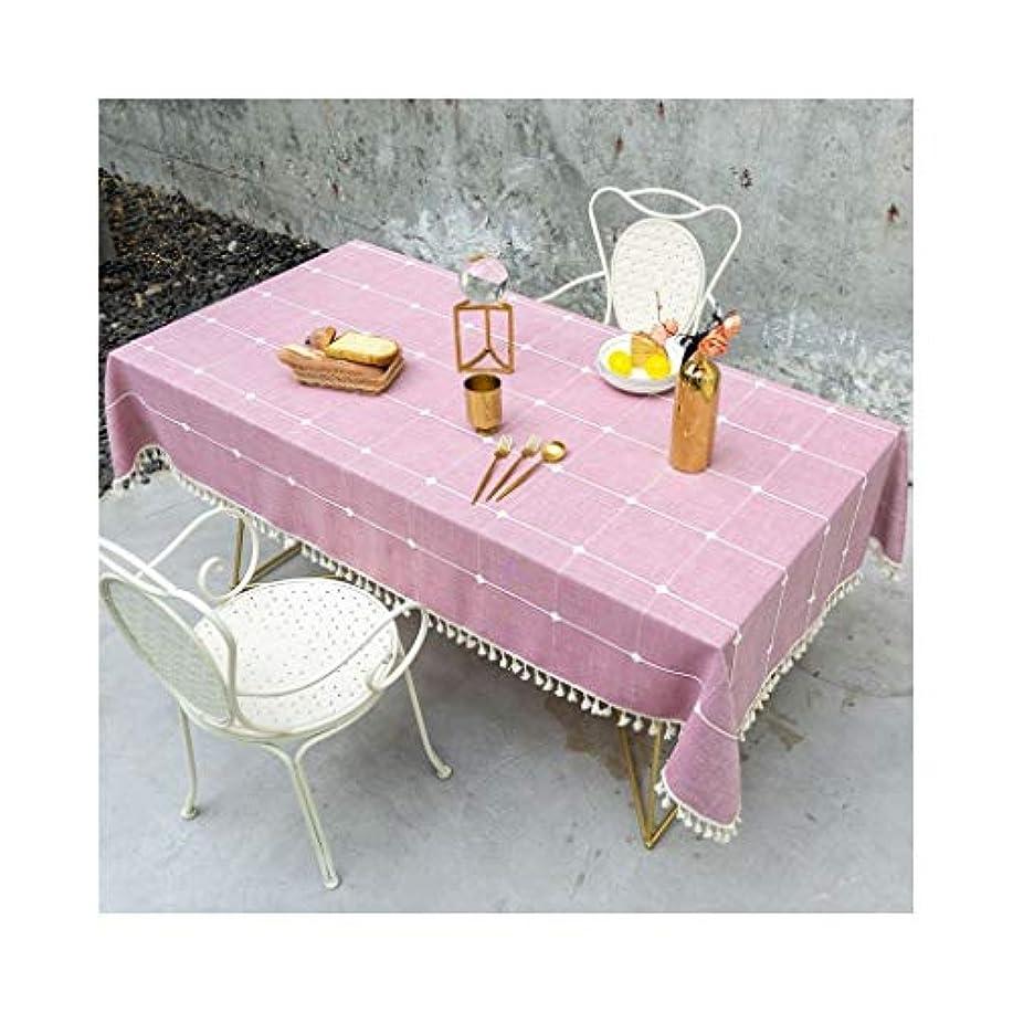 健全そのような雲布製テーブルクロス 長方形のテーブルクロス、北欧スタイルのピンクのチェック柄、綿と麻、防汚、お手入れが簡単、丈夫、ロマンチックでエレガント、暖かい家 ホリデーギフト (Size : 140*180cm)