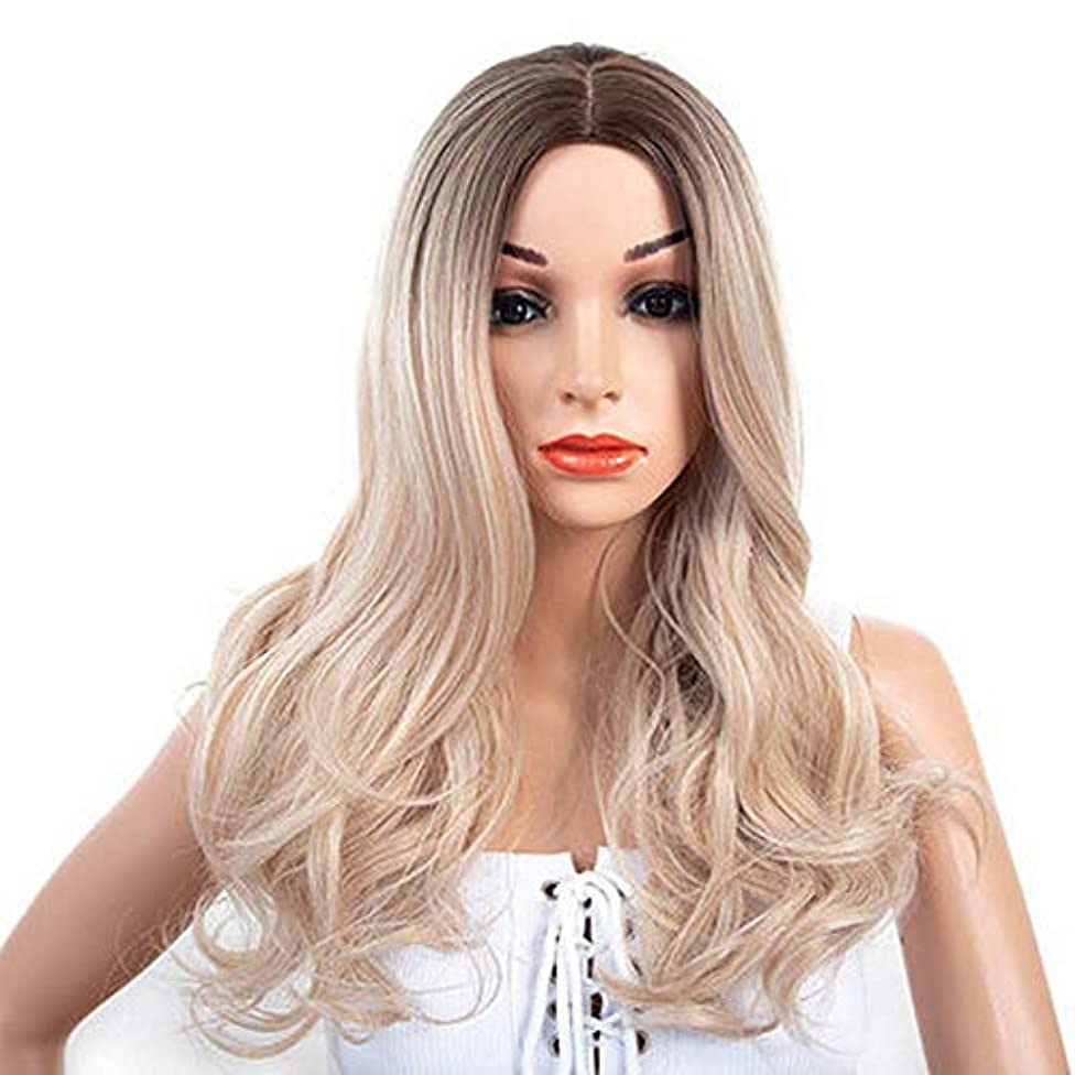 女性のための色のかつら長いウェーブのかかった髪、高密度温度合成かつら女性グルーレス波状コスプレ髪かつら、女性のための耐熱繊維髪かつら、黄色のかつら24インチ