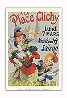 プレイスクリシーで - パリ、フランス - ニースの花束 - ビンテージな広告ポスター によって作成された レネ・ピエン c.1890s - アートポスター - 33cm x 48cm