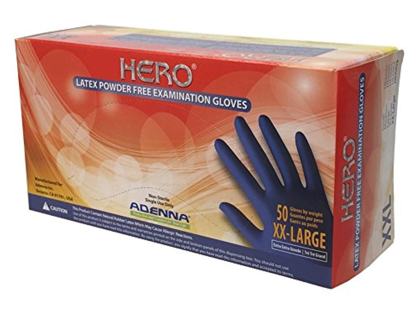 絶壁インタビュー上(XX-Large) - Adenna Hero 14 mil Latex Powder Free Exam Gloves (Blue, XX-Large) Box of 50