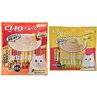 【セット買い】チャオ (CIAO) 猫用おやつ ちゅ~る とりささみバラエティ 14g×45本入 & (CIAO) 猫用おやつ ちゅ~る まぐろ ほたてミックス味 14g×20本入