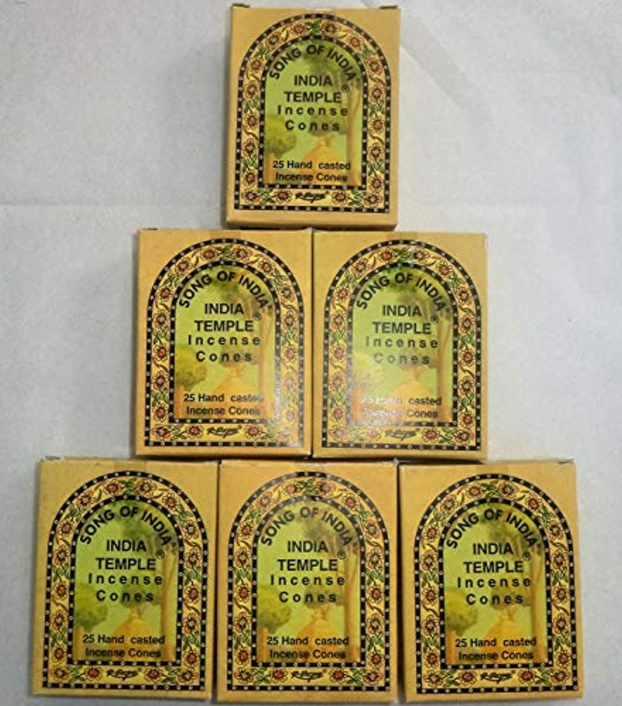 ベテランタックしなやかSong of India Temple Cone Incense, 6 x 25 Cone Pack, 150 Cones Total