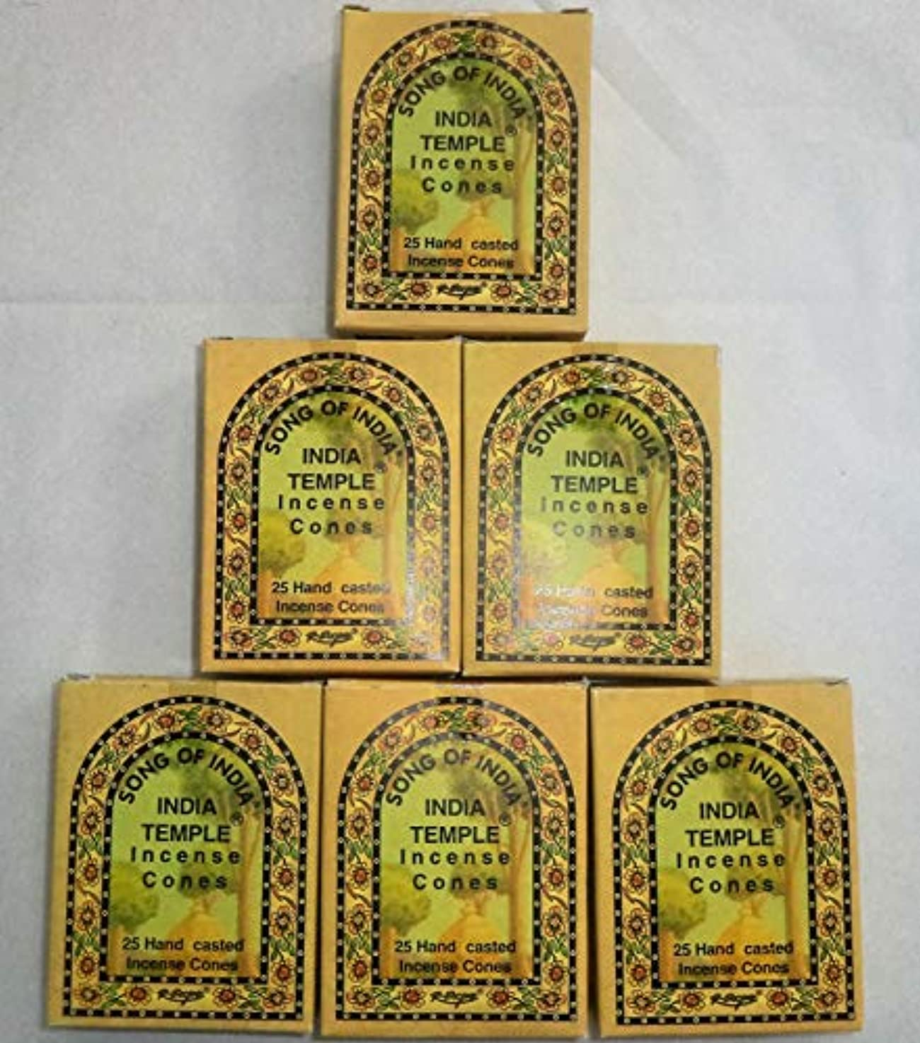 匹敵しますキリスト教余暇Song of India Temple Cone Incense, 6 x 25 Cone Pack, 150 Cones Total