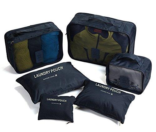 (ピ・トラベル) P.travel アレンジケース トラベルポーチ 7点セット しっかりした生地とチャック 旅行用品 オーガナイザー 衣類 収納 スーツケース 整理 パッキング インナーバッグ ネイビー