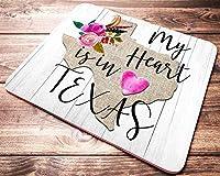 My Heart is in Texas マウスパッド テキサス州地図 フローラル フェイク木製マウスパッド オフィスデスクアクセサリー 装飾品