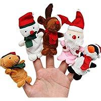 Lanhui _ Fantastic 5点サンタトナカイ幼児用Kid Finger PlushトイクリスマスPlush Finger Toys