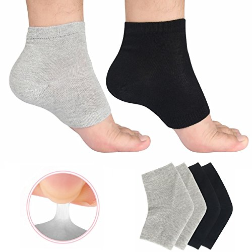 Phoebe かかと 靴下 ソックス レディース メンズ 靴下 つるつる 靴下 フットケア かかとケア ひび 角質ケア 保湿 角質除去 足首用サポーター 2色組(ブラック+グレー) フリーサイズ