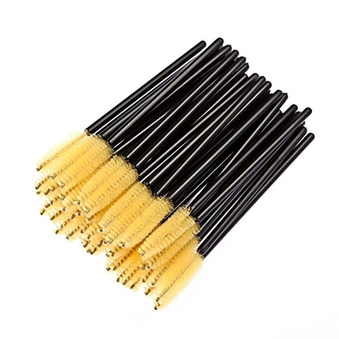 レキシコン家具ローストまつげブラシ 100本セット 使い捨てブラシ スクリューブラシ 睫毛増長 4色 (黄色い) [並行輸入品]