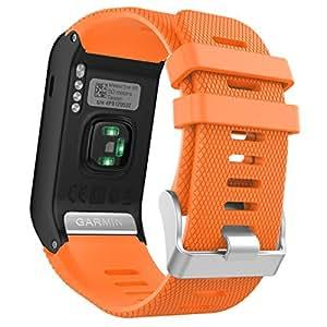 Garmin Vivoactive J HR バンド - ATiC Garmin Vivoactive J HR専用ソフト 高級 シリコーン製腕時計ストラップ/バンド 交換ベルト ORANGE