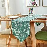 DoawSang 長いです テーブルランナー ノルディック ダイニングデコレーション 茶旗 コットンとリネン 断熱材 滑り止め にとって コーヒーテーブル ディナー テレビキャビネット パーティー 結婚式(30x200cm グリーン)