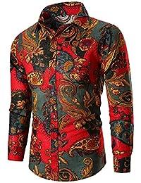 Fly Year-JP メンズプラスサイズ花プリントロングスリーブボタンダウンシャツ