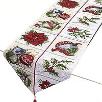 Merry Christmas クリスマス テーブルランナー タペストリー パーティー インテリア デザイン アクセント 北欧 (33×175cm, Xmas シーズン)