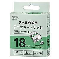 OHM テプラPRO用 互換ラベル テープカートリッジ 18mm 緑テープ 黒インク TC-K18G 01-3822