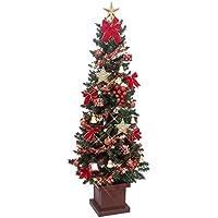 クリスマス屋 クリスマスツリーセット 150cm 木製ポット スリムツリー LED レッド&ゴールド