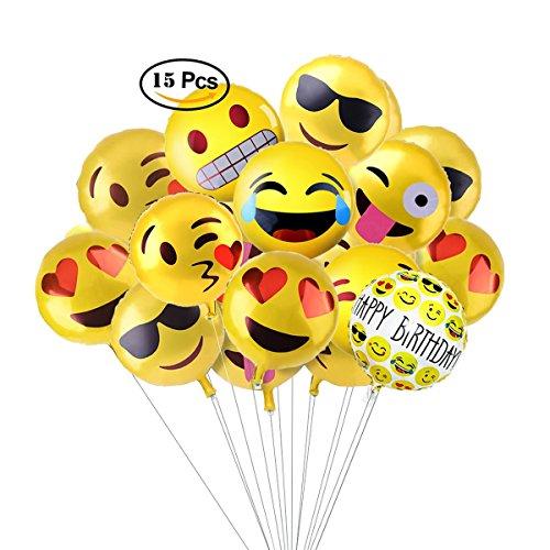 Aesetek 18インチ絵文字 HAPPY BIRTHDAY 文字風船 誕生日とパーティー飾り用バルーン 8種類 15個セット [並行輸入品]