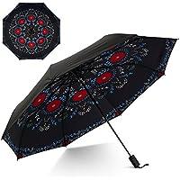 Flexzion Small Travel UV Sun &雨傘–防風& Sun UV保護画面Shadeブロックコンパクトミニポータブル折りたたみの傘ハンドル手首ストラップand Carryingバッグ