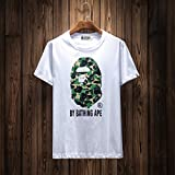 BAPE A BATHING APE aape(エーエイプ バイ ア ベイシング エイプ)夏メンズ トップス 迷彩 ロゴ Tシャツ 半袖 男女兼用 (S, ホワィト)
