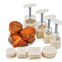 URBEST Mid-Autumn Festival Hand-Pressure Moon Cake Mould With 12 Pcs Mode Pattern For 4 Sets
