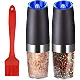 Premium Electric Salt and Pepper Grinder Set Battery Operated with Advanced Nano-Ceramic Grinder and Blue LED Light One Hande