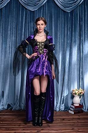 セクシー 魔女 ヴァンパイア 悪魔 ドレス ハロウィン 衣装 コスプレ セット 豪華セット 仮装 パーティー ハロウィン衣装 高級 本格志向 コスプレ衣装 コスチューム パーティジャック wwp (パープルブラック)