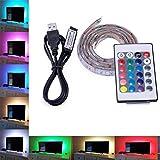 Amazon.co.jpAVAWAY USBLEDテレビバックライトキット高輝度テープライト防水防塵 RGB 5050 LEDライトストリップ24キーを備える コネクタPCノートブックの装飾 目の疲れを取る切断可能(50cm)(24キーリモコン) (0.5m)