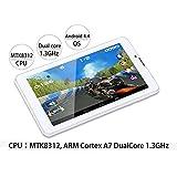 通話機能付 7インチタブレット ホワイト Android4.4搭載 デュアルコアCPU ROM:8GB WCDMA SIMフリー Bluetooth対応 前後ダブルカメラ FMTK708G