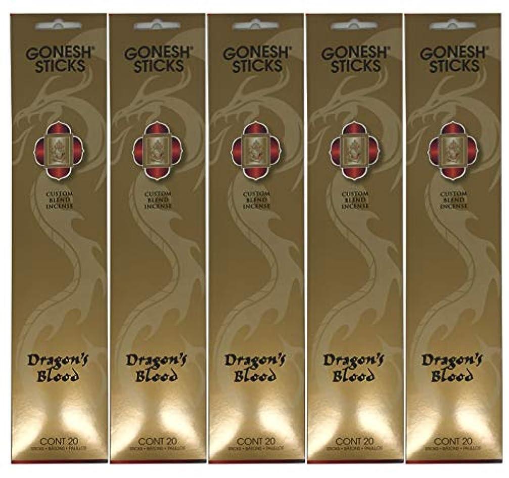 汚れるワイド地下Gonesh カスタムブレンドインセンススティック - Dragon's Blood - 5パック (合計100本)