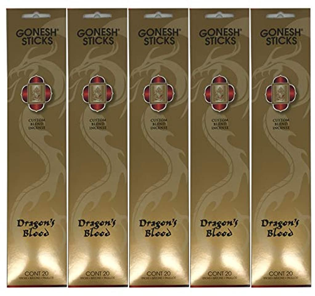 についてホイスト挽くGonesh カスタムブレンドインセンススティック - Dragon's Blood - 5パック (合計100本)
